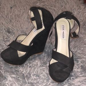Steve Madden Black Wedge Ankle Wrap High Heels